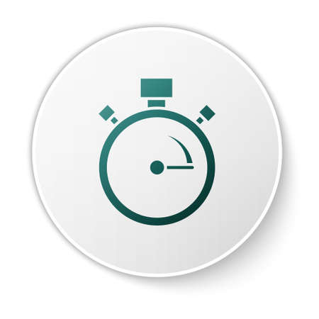 Green Stopwatch icon isolated on white background. Time timer sign. Chronometer sign. White circle button. Vector