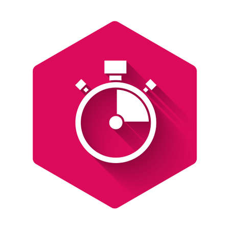 White Stopwatch icon isolated with long shadow. Time timer sign. Chronometer sign. Pink hexagon button. Vector 向量圖像