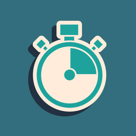 Green Stopwatch icon isolated on green background. Time timer sign. Chronometer sign. Long shadow style. Vector 向量圖像