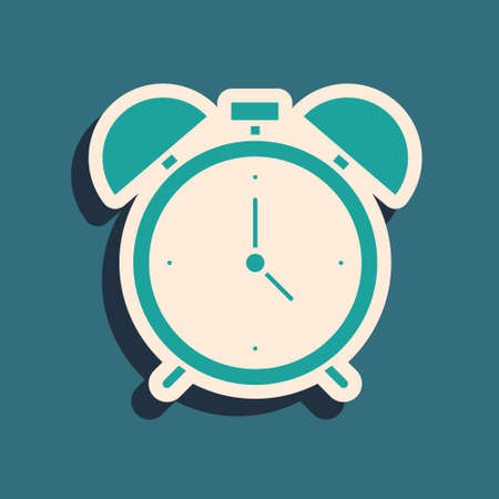 Green Alarm clock icon isolated on green background. Wake up, get up concept. Time sign. Long shadow style. Vector 向量圖像