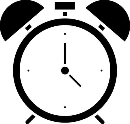 Black Alarm clock icon isolated on white background. Wake up, get up concept. Time sign. Vector 向量圖像
