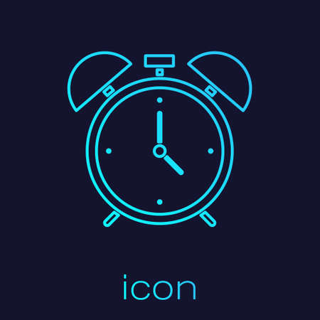 Turquoise line Alarm clock icon isolated on blue background. Wake up, get up concept. Time sign. Vector 向量圖像