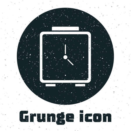 Grunge Alarm clock icon isolated on white background. Wake up, get up concept. Time sign. Monochrome vintage drawing. Vector