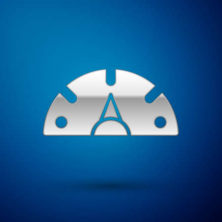 Silver Speedometer icon isolated on blue background. Vector