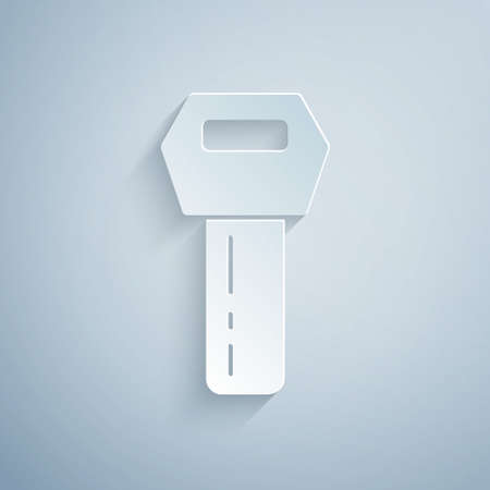 Paper cut Car key with remote icon isolated on grey background. Car key and alarm system. Paper art style. Vector