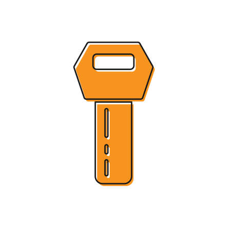 Orange Car key with remote icon isolated on white background. Car key and alarm system. Vector