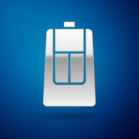 Silver Car key with remote icon isolated on blue background. Car key and alarm system. Vector