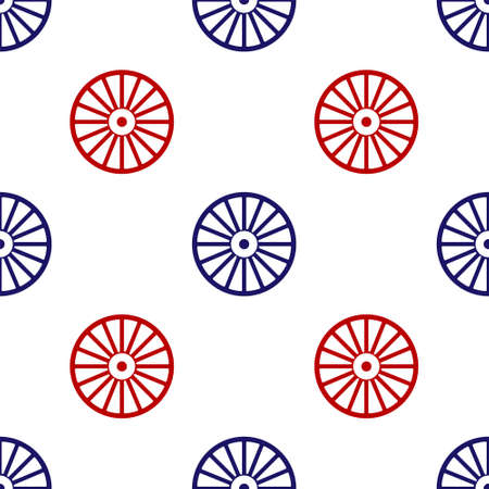 Blue and red Alloy wheel for a car icon isolated seamless pattern on white background. Vector Vettoriali
