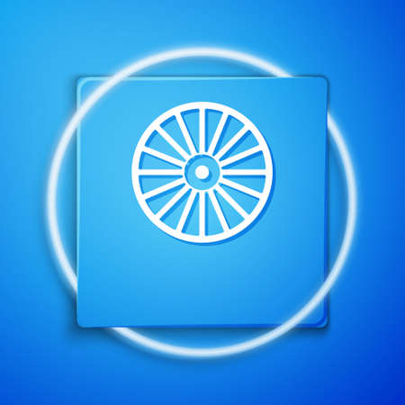 White Alloy wheel for a car icon isolated on blue background. Blue square button. Vector Vettoriali