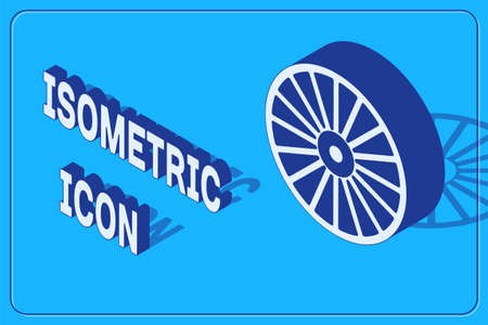 Isometric Alloy wheel for a car icon isolated on blue background. Vector Vettoriali