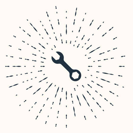 Grey Wrench spanner icon isolated on beige background. Abstract circle random dots. Vector