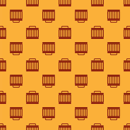 Red Car radiator cooling system icon isolated seamless pattern on brown background. Vector Vettoriali