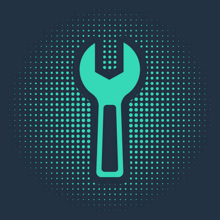 Green Wrench spanner icon isolated on blue background. Abstract circle random dots. Vector