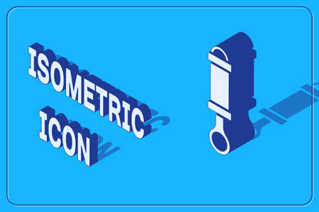 Isometric Shock absorber icon isolated on blue background. Vector 向量圖像