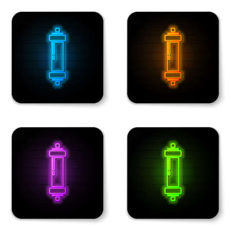 Glowing neon Shock absorber icon isolated on white background. Black square button. Vector 向量圖像