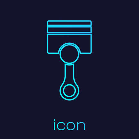 Turquoise line Engine piston icon isolated on blue background. Car engine piston sign. Vector 矢量图像