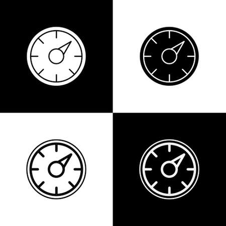 Set Digital speed meter concept with 5G icon isolated on black and white background. Global network high speed connection data rate technology. Vector