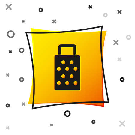 Black Grater icon isolated on white background. Kitchen symbol. Cooking utensil. Cutlery sign. Yellow square button. Vector 矢量图像