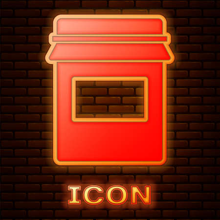 Glowing neon Jam jar icon isolated on brick wall background. Vector