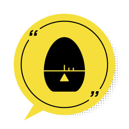 Black Kitchen timer icon isolated on white background. Egg timer. Cooking utensil. Yellow speech bubble symbol. Vector