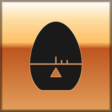 Black Kitchen timer icon isolated on gold background. Egg timer. Cooking utensil. Vector