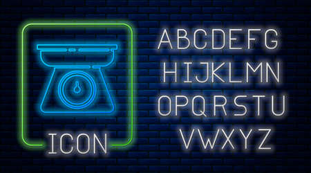 Glowing neon Scales icon isolated on brick wall background. Weight measure equipment. Neon light alphabet. Vector 向量圖像
