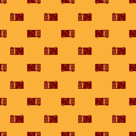 Red Microwave oven icon isolated seamless pattern on brown background. Home appliances icon. Vector