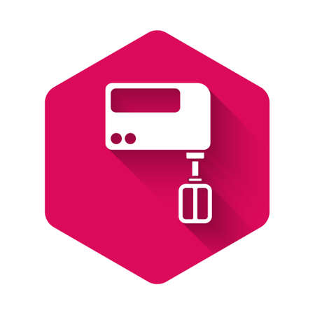 White Electric mixer icon isolated with long shadow. Kitchen blender. Pink hexagon button. Vector