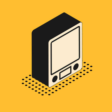 Isometric Electronic scales icon isolated on yellow background. Weight measure equipment. Vector