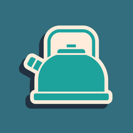 Green Kettle with handle icon isolated on green background. Teapot icon. Long shadow style. Vector