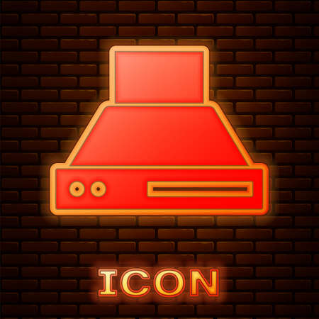Glowing neon Kitchen extractor fan icon isolated on brick wall background. Cooker hood. Kitchen exhaust. Household appliance. Vector