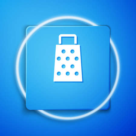 White Grater icon isolated on blue background. Kitchen symbol. Cooking utensil. Cutlery sign. Blue square button. Vector