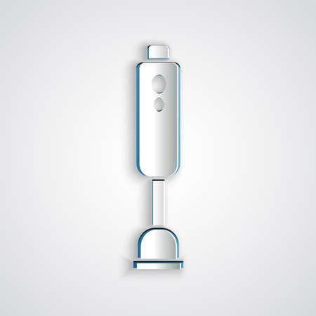 Paper cut Blender icon isolated on grey background. Kitchen electric stationary blender with bowl. Cooking smoothies, cocktail or juice. Paper art style. Vector