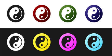 Set Yin Yang symbol of harmony and balance icon isolated on black and white background. Vector 矢量图像