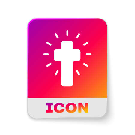 White Christian cross icon isolated on white background. Church cross. Rectangle color button. Vector