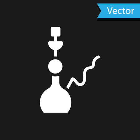 White Hookah icon isolated on black background. Vector Stock fotó - 157426709