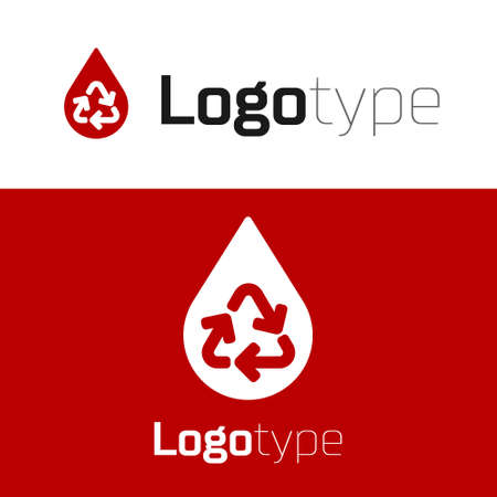 Red Recycle clean aqua icon isolated on white background. Drop of water with sign recycling. Logo design template element. Vector