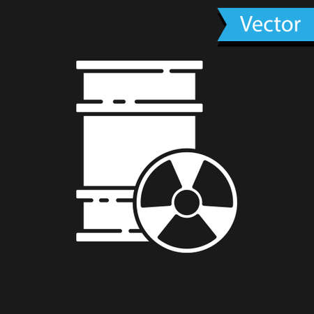 White Radioactive waste in barrel icon isolated on black background. Toxic refuse keg. Radioactive garbage emissions, environmental pollution. Vector Ilustrace