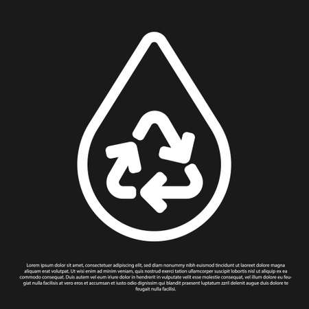 Black Recycle clean aqua icon isolated on black background. Drop of water with sign recycling.  Vector. Vettoriali