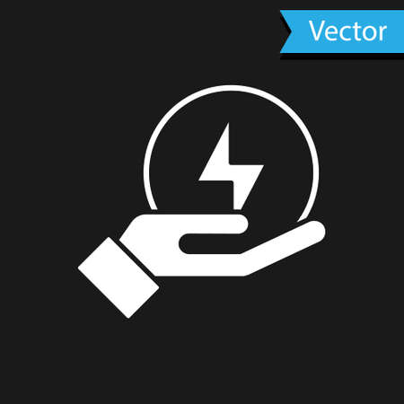 White Lightning bolt icon isolated on black background. Flash sign. Charge flash icon. Thunder bolt. Lighting strike. Vector