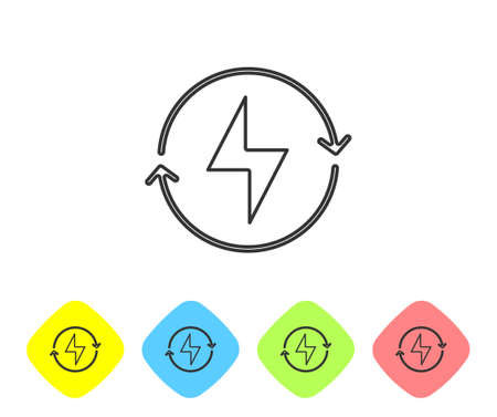 Grey line Lightning bolt icon isolated on white background. Flash sign. Charge flash icon. Thunder bolt. Lighting strike. Set icons in color rhombus buttons. Vector