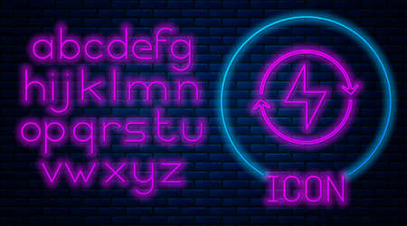 Glowing neon Lightning bolt icon isolated on brick wall background. Flash sign. Charge flash icon. Thunder bolt. Lighting strike. Neon light alphabet. Vector