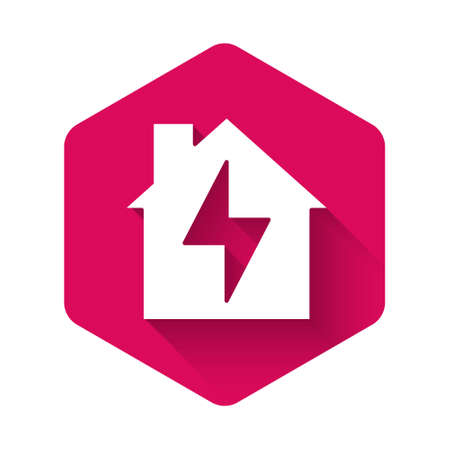 White House and lightning icon isolated with long shadow. Home energy. Pink hexagon button. Vector Ilustração