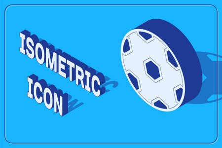 Isometric Football ball icon isolated on blue background. Soccer ball. Sport equipment. Vector