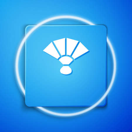 White Fan flamenco accessory icon isolated on blue background. Blue square button. Vector