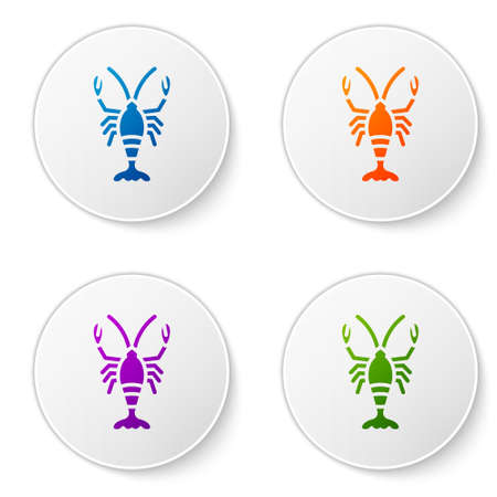 Color Lobster icon isolated on white background. Set icons in circle buttons. Vector Ilustrace