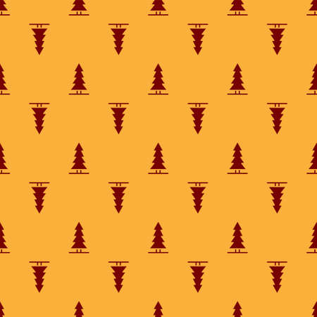 Red Canadian spruce icon isolated seamless pattern on brown background. Forest spruce. Vector