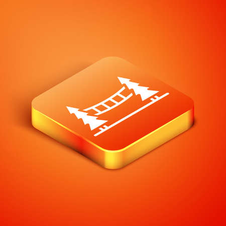 Isometric Capilano Suspension Bridge in Vancouver, Canada icon isolated on orange background. Vector Illustration