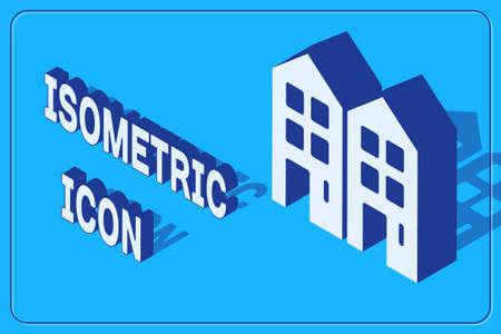 Isometric House icon isolated on blue background. Home symbol. Vector Çizim