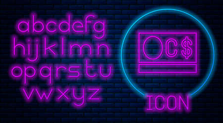 Glowing neon Canadian dollar currency symbol icon isolated on brick wall background. Neon light alphabet. Vector
